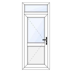 Kunststof achterdeur met paneel en bovenraam