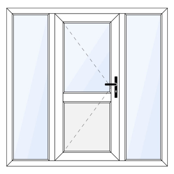 Kunststof achterdeur met paneel en twee zijramen