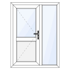 Kunststof achterdeur met paneel en zijraam