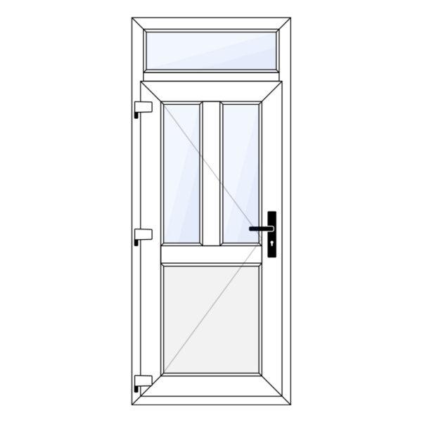 kunststof voordeur met borstwering en bovenlicht