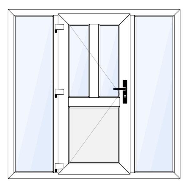 kunststof voordeur met borstwering en twee zijlichten