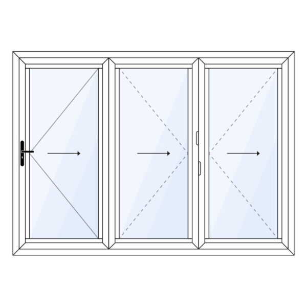 aluminium vouwwand 3 delig met loopdeur meevouwend op maat kopen