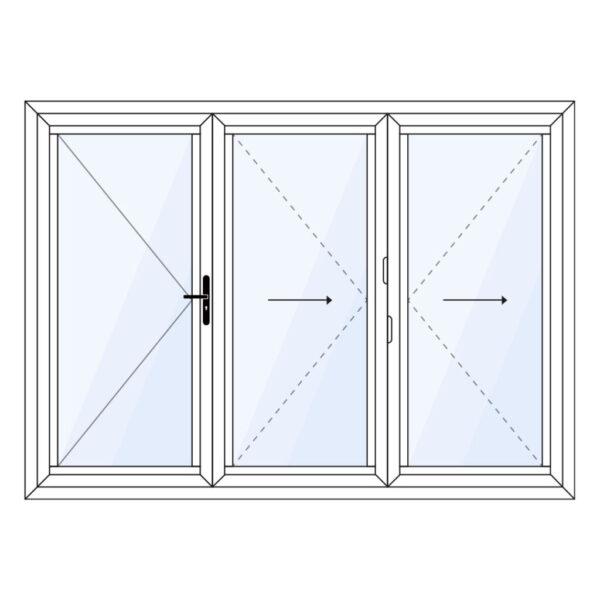 aluminium vouwwand 3 delig met vaste loopdeur op maat kopen