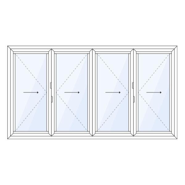 aluminium vouwwand 4 delig volledig naar links of rechts schuivend op maat kopen