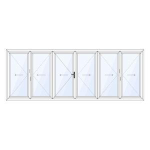Aluminium harmonicadeur 6-delig met loopdeur in het midden
