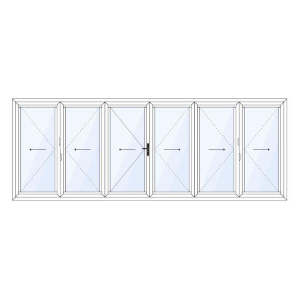 aluminium vouwwand 6 delig met loopdeur in het midden op maat kopen
