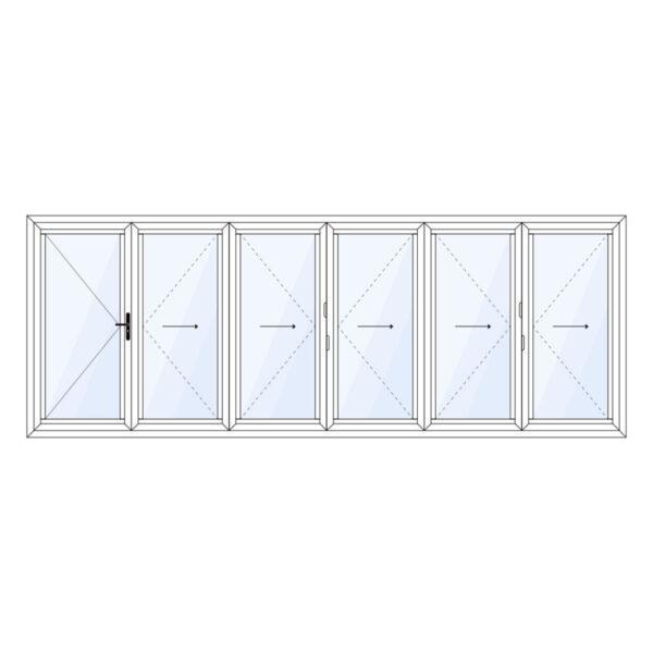 aluminium vouwwand 6 delig met vaste loopdeur op maat kopen
