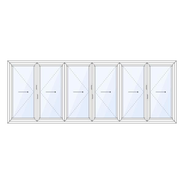 aluminium vouwwand 6 delig volledig naar links of rechts schuivend op maat kopen