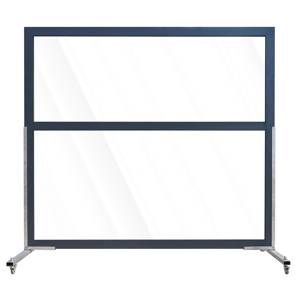 Aluminium scherm met twee vakken veiligheidsglas