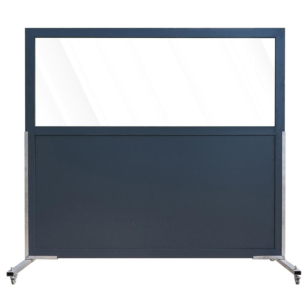Aluminium scherm met paneel en veiligheidsglas