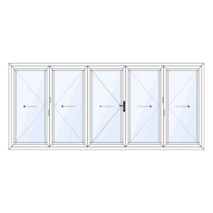 Harmonicadeur 5-delig met loopdeur in het midden