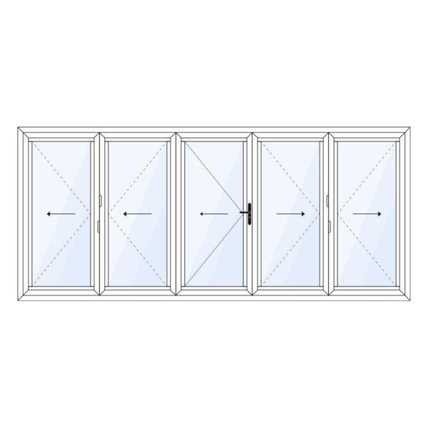 aluminium vouwwand 5 delig met loopdeur in het midden op maat kopen