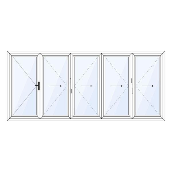 aluminium vouwwand 5 delig met vaste loopdeur op maat kopen