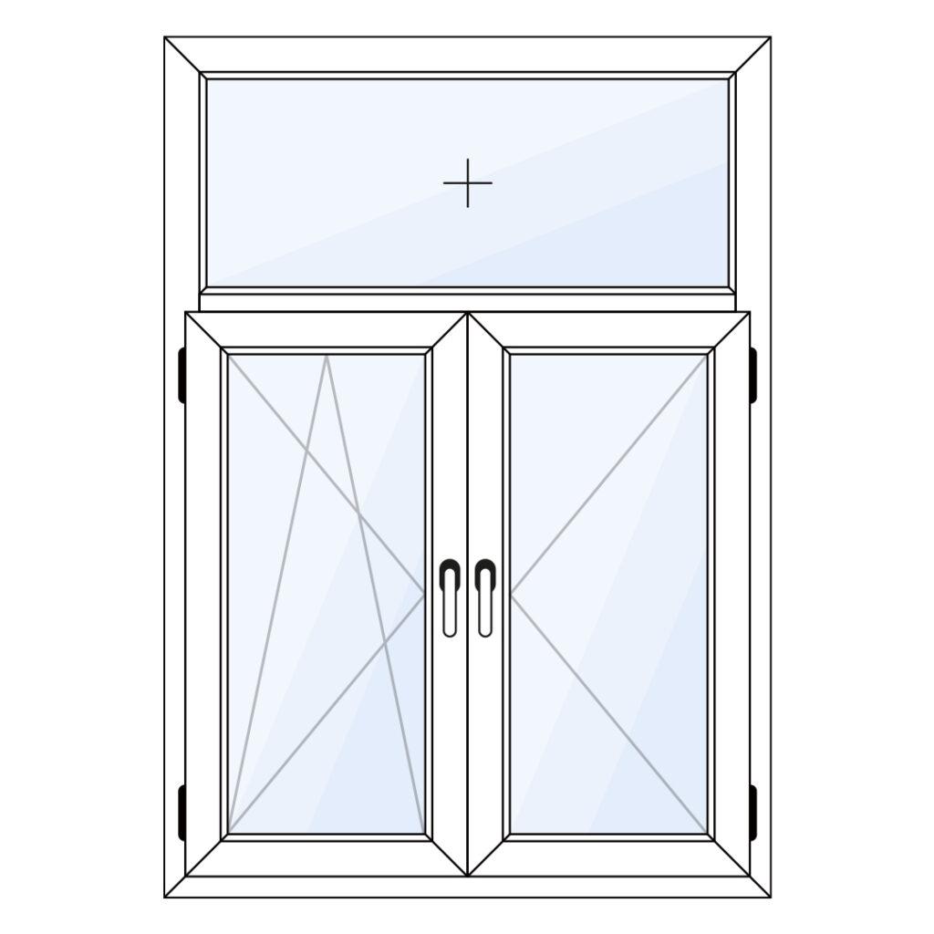 Kunststof draaikiep en draairaam met vast glas erboven