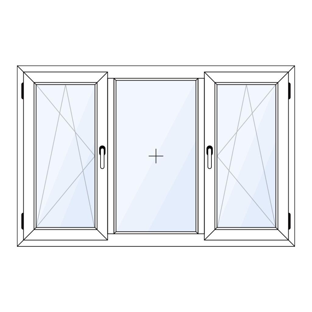 Kunststof dubbel draaikiepraam met vast glas in het midden
