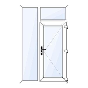 kunststof voordeur met zijraam en bovenraam