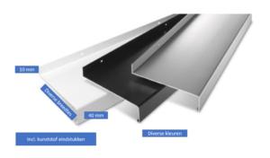 Aluminium waterslag 100 mm lengte 2000-3000 mm incl. eindstukken in kleur van het kozijn