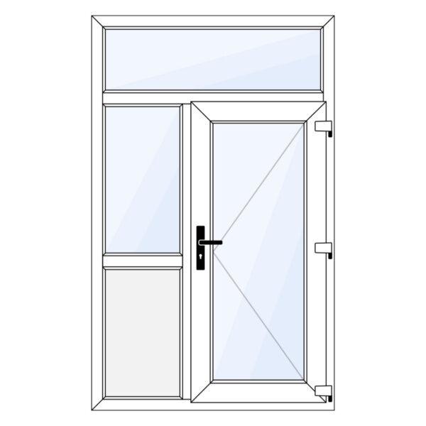 kunststof voordeur met bovenraam, zijraam en borstwering