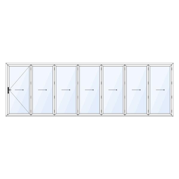 7 delig aluminium vouwwand met loopdeur meevouwend op maat