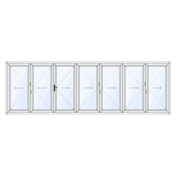 7 delig aluminium vouwwand met loopdeur meevouwend op twee derde op maat