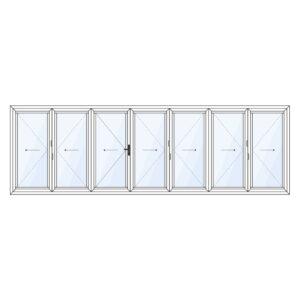 Harmonicadeur 7-delig met loopdeur in het midden