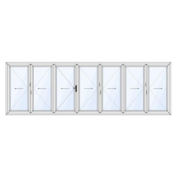 7 delig aluminium vouwwand met loopdeur vanuit het midden meevouwend op maat