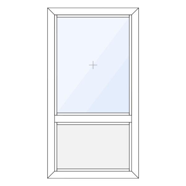 aluminium glaskozijn met borstwering horizontaal 2 vaks