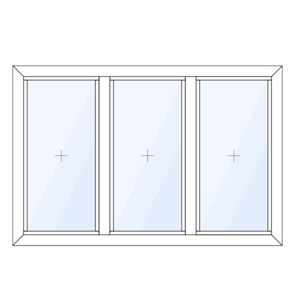 aluminium glaskozijn verticaal 3 vaks